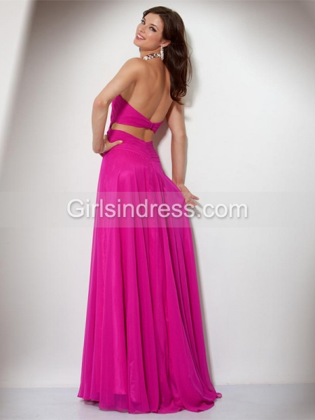 Gorgeous A-line Jewel Beading Sweeping Chiffon Prom Dress