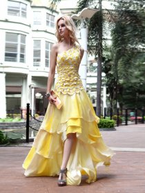 Gorgeous A-line One Shoulder Beaded Asymmetrical Satin Evening/Party Dress