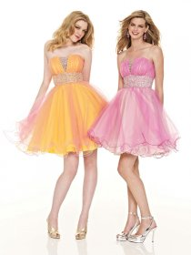 Gorgeous Mini Strapless Beading Organza&Satin Graduation Dress