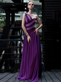 Gorgeous One Shoulder Beaded Floor Length Satin Evening Dress