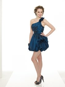 Gorgeous Satin One-shoulder Beaded Homecoming Dress