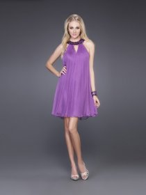 Lovely Jewel Purple Chiffon Cocktail Dress