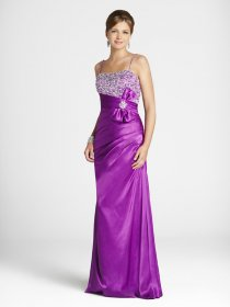 Purple A-line Spaghetti Straps Beaded Satin Evening Dress