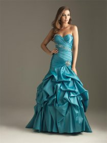 Satin Sweetheart Ruffle Evening Dress