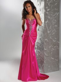 Sheath/Column Sweetheart Beading Satin Sweep Train Evening Dress