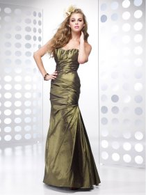 Sheath Strapless Beading Satin Prom Dress