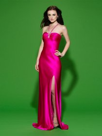 Sheath Straps Beading Satin Evening Dress