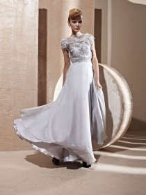 A-line Short Sleeves Embroidery Satin Embroidery Evening Dress