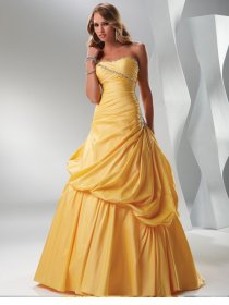 A-line Strapless Beaded Taffeta Floor-length Prom Dress