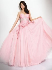 Ball Gown Sweetheart Beaded with Handmade Flowers Tulle&Satin Engagement Dress