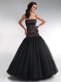 Ball Gown Tulle Strapless Lace Prom Dress