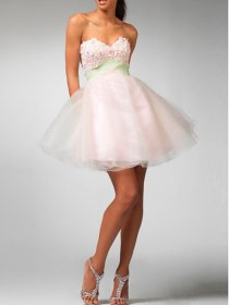 Bonnie A-line Embroidery Strapless Sweetheart Organza Graduation Dress