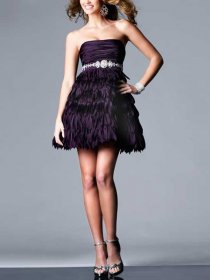 Chic A-line Jewel Detailed Strapless Homecoming Dress