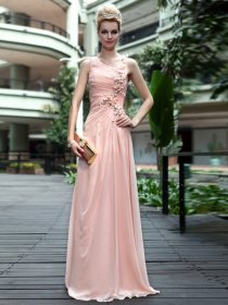 Delicate Sheath/Column One Shoulder Satin Floor Length Evening/Prom Dress