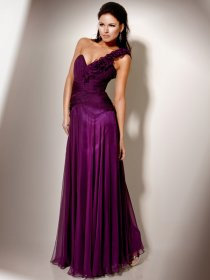 Elegant A-line Flowers One-shoulder Chiffon Prom Dress