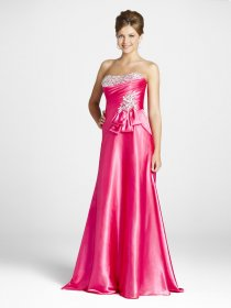Elegant A-line Strapless Flower Beaded Satin Floor-length Evening dress