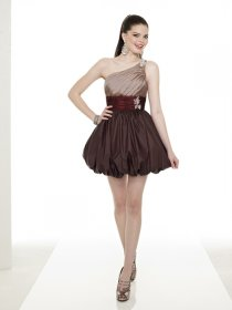 Elegant Beading Taffeta Short One-shoulder Cocktail Dress