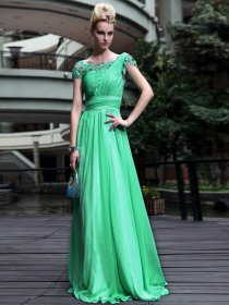 Elegant Chiffon A-line Appliques & Crystals Detailed Evening Dress