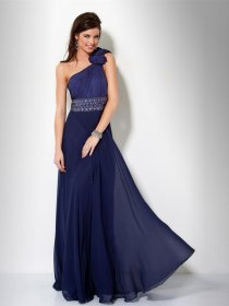 Elegant One-shoulder Beaded Belt Chiffon Prom Dress