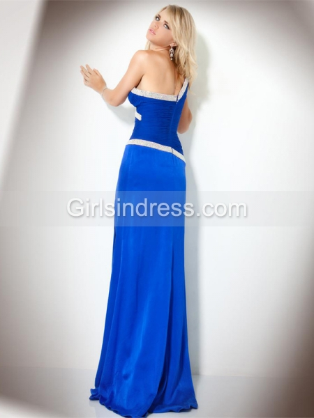 Elegant Sheath One-shoulder Beading Satin Evening Dress