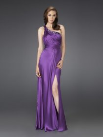 Fantastic A-line Furcal One Shoulder Satin Evening Dress