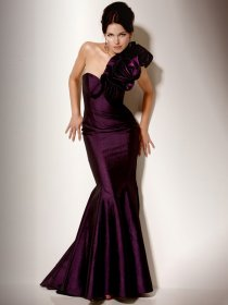 Gorgeous One-shoulder Flowers Satin Mermaid Evening Dress