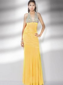 Gorgeous Sheath Halter Beading Chiffon Evening Dress