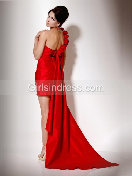 One-Shoulder Sheath/Column Short Satin Cocktail Dress