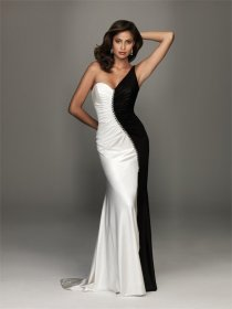 Satin Black And White One-shoulder Evening Dress