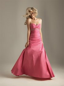 Satin Sweetheart Empire Evening Dress