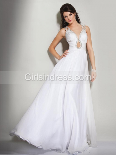 A-line Straps Beading Chiffon Sexy Engagement Dress