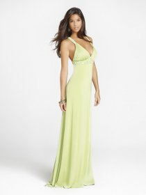 Sexy A-line V-neck Beaded Floor-length Chiffon Evening Dress