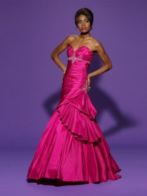 Trumpet Sweetheart Beading Satin Prom Dress