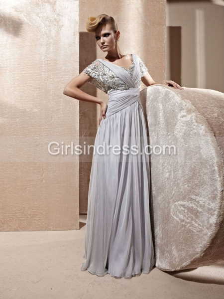 V-neck Cape Sleeve Crystals A-line Organza Prom Dress
