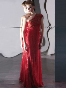 One-shoulder Embroidery Floor Length Shiny Evening Dress