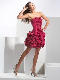 Attractive Strapless Satin Cascading Ruffle Cocktail Dress