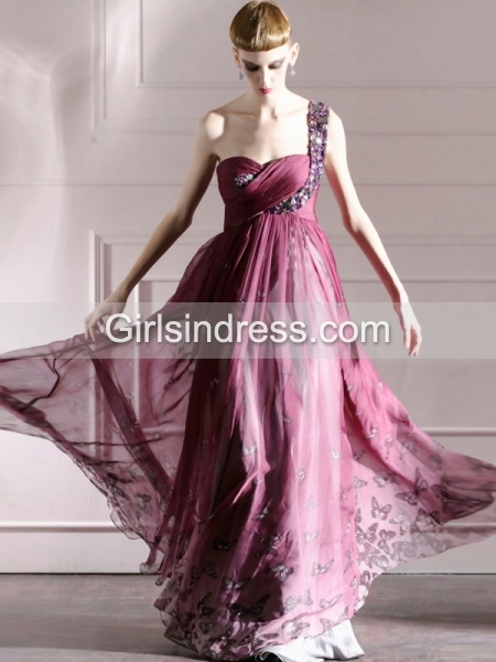 A-line One-shoulder Jewery Butterfly Print Chiffon Prom Dress