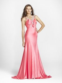 A-line Halter Pink Satin Floor-length Beaded Evening Dress