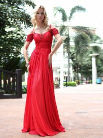 A-line Off-the-shoulder Beaded Satin Floor Length Evening/Prom Dress
