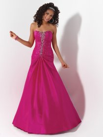 A-line Sweetheart Beaded Floor-length Satin Prom Dress