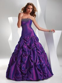 Ball Gown Strapless Cascading Ruffle Beading Satin Engagement Dress