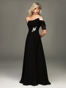 Black Chiffon One-shoulder Crystal Evening Dress