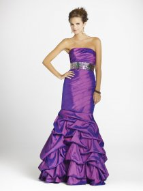 Fantastic Mermaid Strapless Beaded Purple Satin Prom Dress