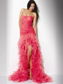 Gorgeous Sheath Organza&Satin Cascading Ruffle Evening Dress