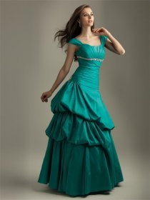 Satin Off-the-shoulder Ruffle Evening Dress