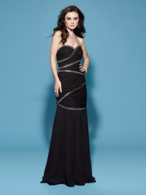 Sheath Sweetheart Beading Chiffon Evening Dress