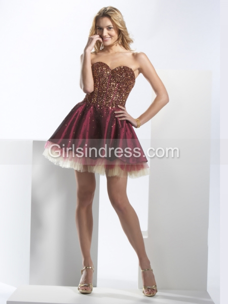 Sweetheart Beading Elegant Satin A-line Cocktail Dress