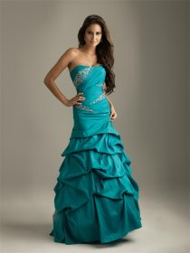 Satin Strapless Ruffle Evening Dress