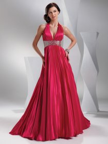 A-line Halter Pleated and Beaded Satin Prom Dress
