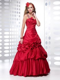 A-line One-shoulder Beading Satin Prom Dress